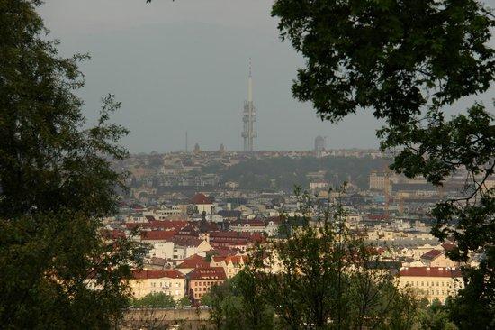 Petrinsky Terasy: A view of the Prague city (Zizkov tower)