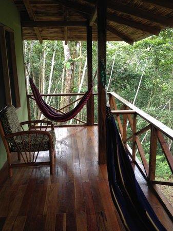 Yachana Lodge: Cabana's porch with hammocks
