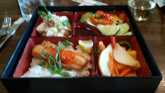 Cerulean: Bento box lunch, basil-soy salmon, pear salad, wasabi potatoes, cucumber sunomono.