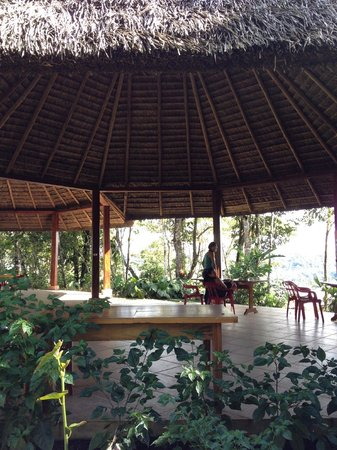 Yachana Lodge: Dining area with view of river