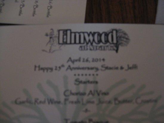 Elmwood at Sparks: Menu :)