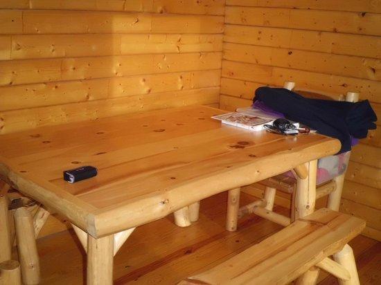 Frontier Town: Table in deluxe cabin