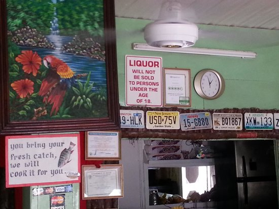 George's Kitchen: Regulars' old license plates adorn the wall, and they will cook your catch for you as well.