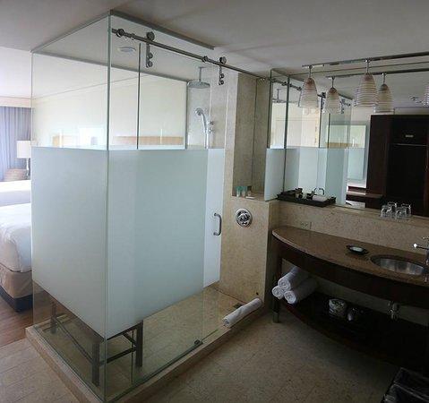 Hyatt Regency Trinidad: shower stall and sink in the room