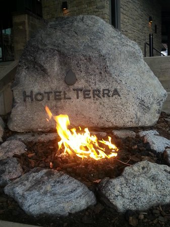 Hotel Terra Jackson Hole, A Noble House Resort: The welcome fire outside of the lobby entrance during the day