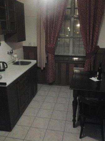 Hotel Waldstein : Kitchen/dining/bathroom areas