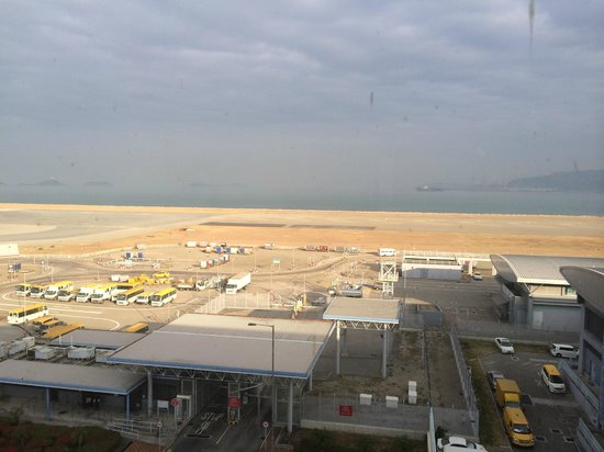 View of the runway from our room at the Regal Airport Hotel