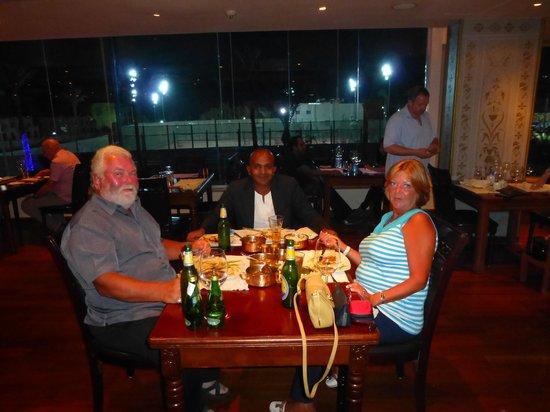 Myself, my husband and Shanthan enjoying fabulous food at the Bombay