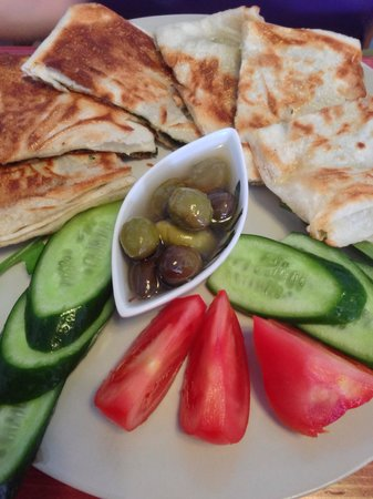 """Pell's Cafe """"Breakfast & Local Delights"""": Turkish pancake with spinach. Delicious."""