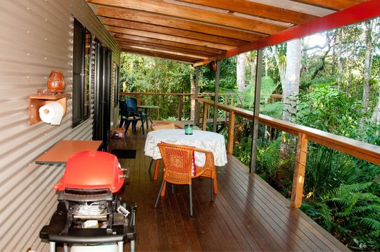 Sharlynn B&B: Spacious veranda overlooking the rainforest and river