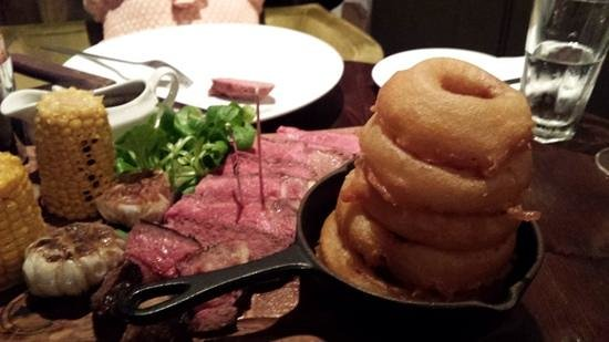 The Lazy Cow Restaurant: monster onion ring stack