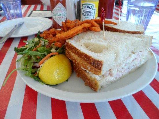 Pier 23 Cafe : Crab and shrimp sandwich with side of sweet potato fries.