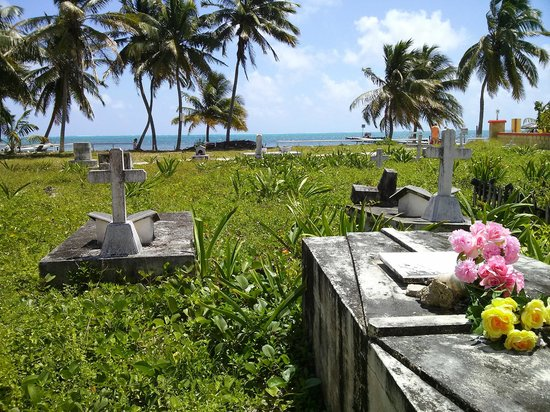 Tropical Paradise Hotel: Picturesque graveyard next door. One of only three on the island.