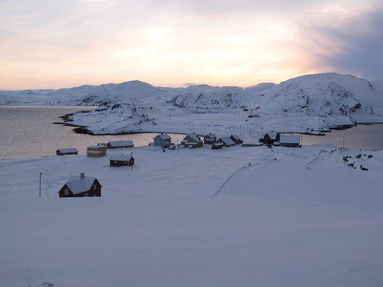 Looking down onto Kongsfjord Gjestehus