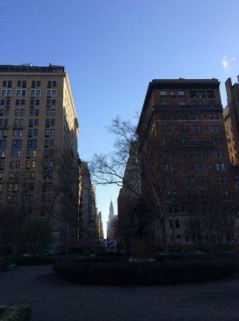 In Gramercy Park, looking at Gramercy Park Hotel (left side)