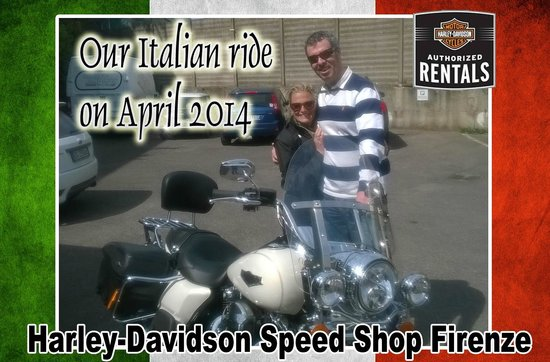 Harley-Davidson Speed Shop - Rentals: My cousin and I picking up our rental Harley