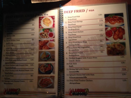 Lamuan Seafood Restaurant: Beispiel Speisekarte
