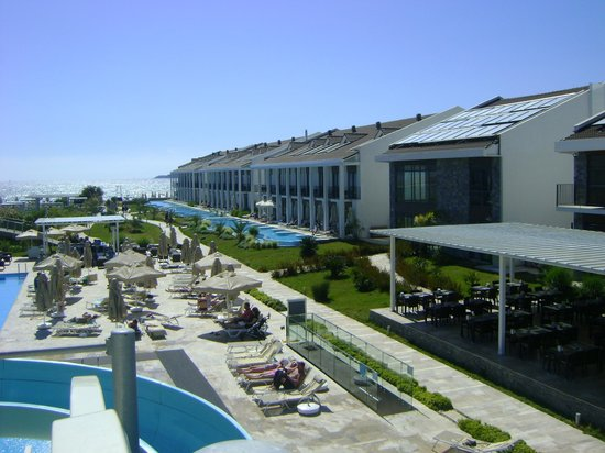 Jiva Beach Resort: View of the Hotel Complex from the top of the slides