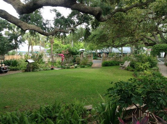 Cedar Key Bed and Breakfast: Looking out toward gardens and gate