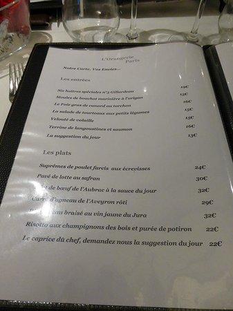 L'Orangerie : carte - menu