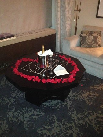The Surrey: Champagne and Rose Petals arranged by our Travel Agent.