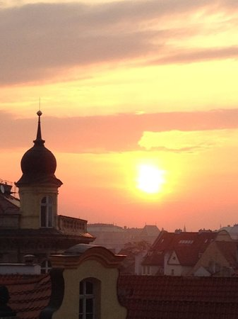 Domus Balthasar Design Hotel: Sunrise over city view from attic room (Room 7)
