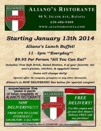 Aliano's Ristorante: All you eat lunch buffet!! $9.95 with soft drink!