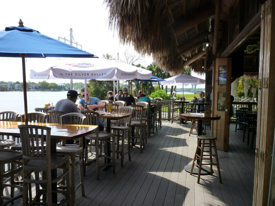 The Oar House: Tables overlooking marina