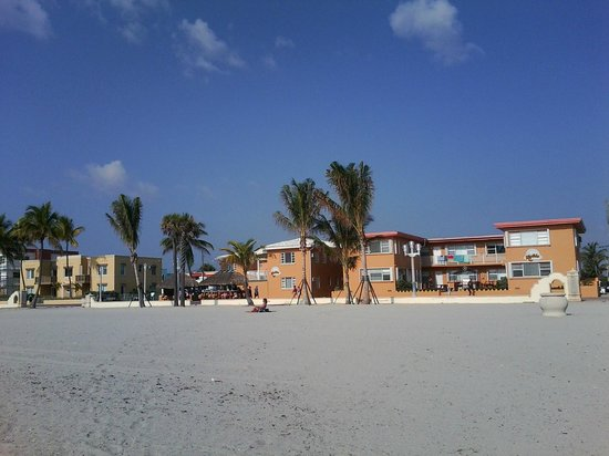 Beach view of Riptide Hotel.
