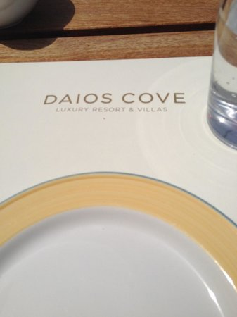 Daios Cove Luxury Resort & Villas: Placemat