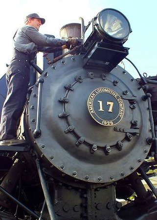 Mt. Rainier Scenic Railroad : our chariot and fireman