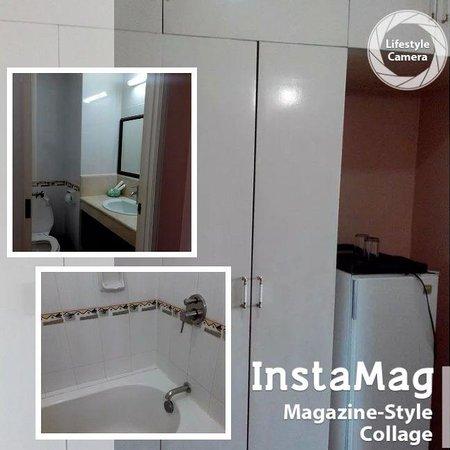 El Cielito Hotel Santa Rosa: cabinets, miniref and toilet and bath
