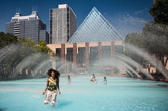 Alberta, Canada: In the Fountain at Churchill Square in Edmonton