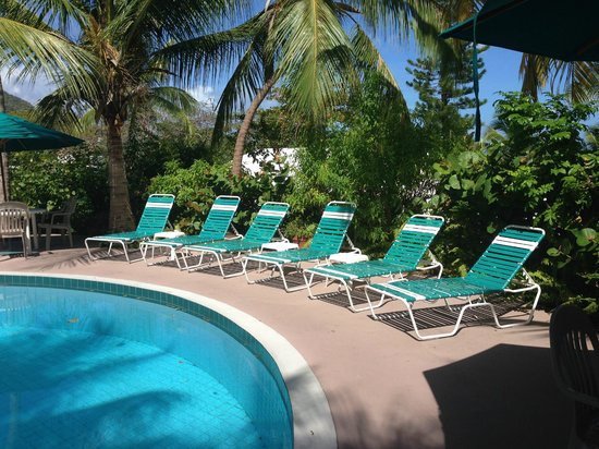 Sugar Mill Hotel : Beautiful tranquil clean pool - rustling palm trees provide shade!