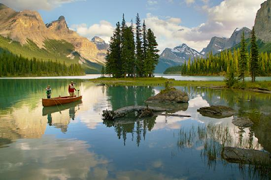 Canadian Rockies, Canada: Fishing on Maligne Lake, Jasper Alberta