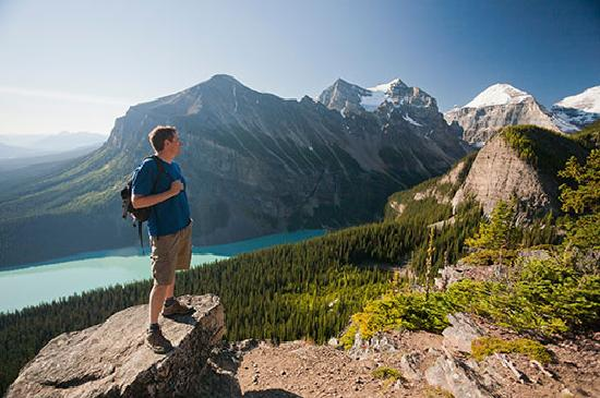 Canadian Rockies, Canada: Hiking near Lake Agnes in the town of Lake Louise