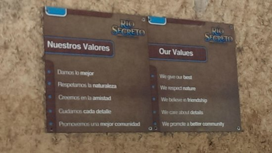 Rio Secreto : Values