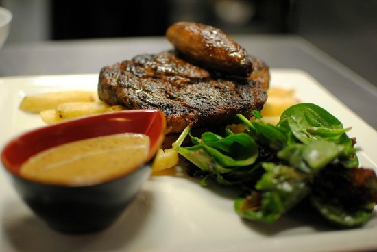 PHX Bistro: Rib Eye Steak, homecut fries, pepper sauce
