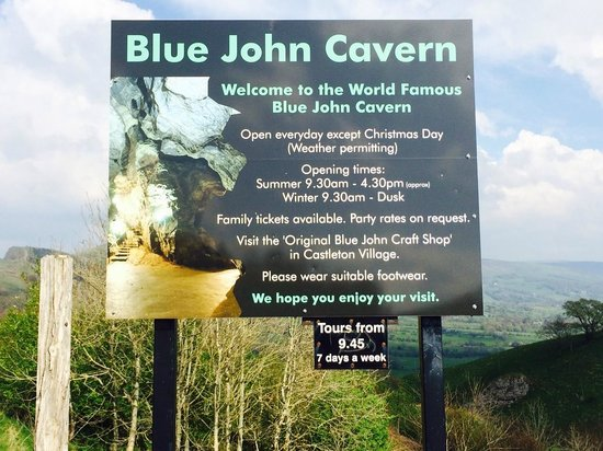 Blue John Cavern: Entrance Sign