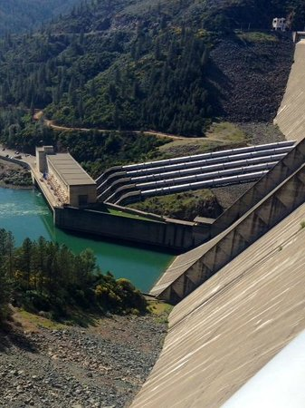 Shasta Dam: Looking over the top of the Dam
