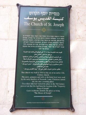 St. Joseph Church: Placa de la Iglesia de San José.
