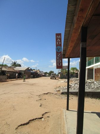 Mad Zebu: The front of the restaurant looking down the main street