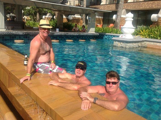 Beyond Resort Karon: just having a dip with the boys & the fat one with the hat on hehehe