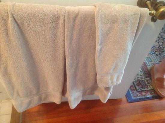 Cannonboro Inn: Bath towel, thin and small.