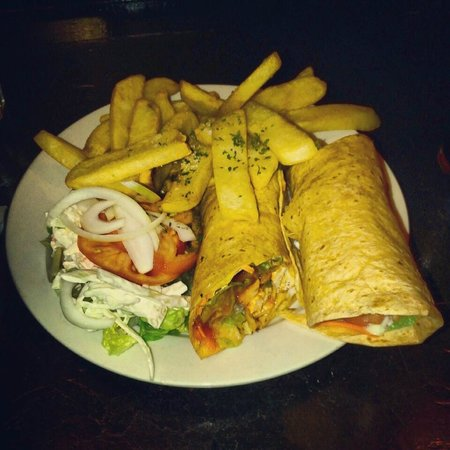 Anna Liffey's: The Buffalo Chicken Wrap.  I love their French Fries.