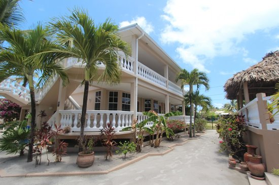Iguana Reef Inn : The building further from the water, soccer field on the other side