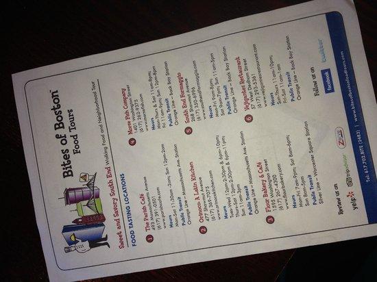 Bites of Boston Food Tours: Walking Tour Guide