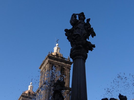 Zocalo : The fountain and cathedral