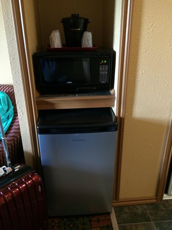 Yukon Inn: Fridge and microwave in room