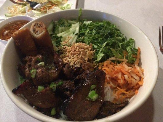 VietRiver: Roast pork with noodles and vegetables.